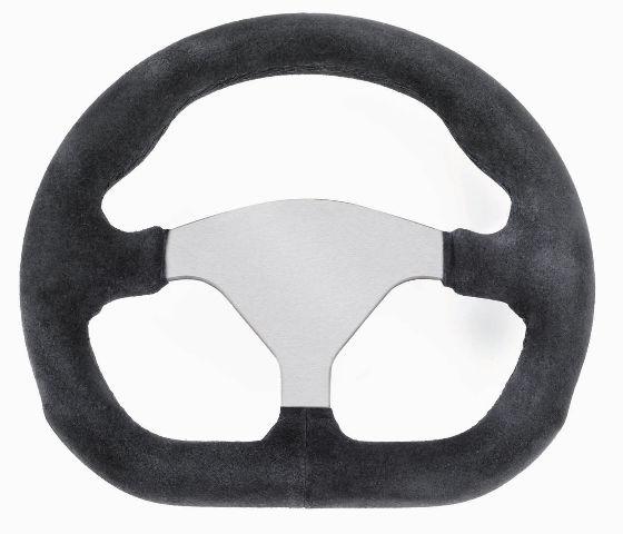 """VW Sand Rail Rock Crawler D-Shape Steering Wheel Black Suede 3-Spoke 10"""" 79-4041"""