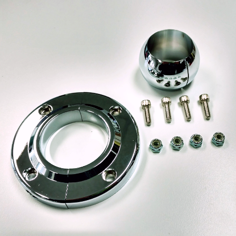 "Chrome  Aluminum Swivel Floor Mount, 1-3/4"" Steering Columns -Hot Rat Street Rod"