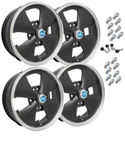 10-1092 EMPI 4-SPOKE WHEEL PACKAGE, 4-LUG VW BUG, GHIA, TYPE 3,  4PC SET, MATTE  BLACK, 15 X 5-1/2, 4 ON 130MM