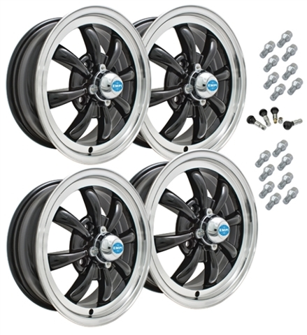 9682 EMPI GT-8 STYLE WHEEL PACKAGE, 4-LUG VW BUG, GHIA, TYPE 3,  4PC SET, GLOSS BLACK, 15 X 5-1/2, 4 ON 130MM