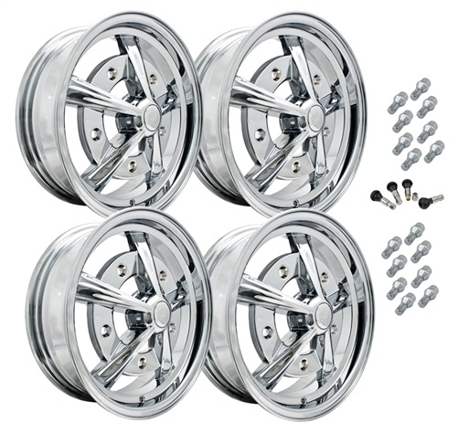 9753 EMPI RAIDER  STYLE WHEEL PACKAGE, 5-LUG VW BUG, BUS,  BEETLE, 4PC SET, CHROME, 15 X 5, 5 ON 205 MM