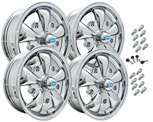 9686 EMPI GT-5 STYLE WHEEL PACKAGE, 5-LUG VW BUG, BUS, GHIA, TYPE 3,  4PC SET, CHROME, 15 X 5-1/2, 5 ON 205MM