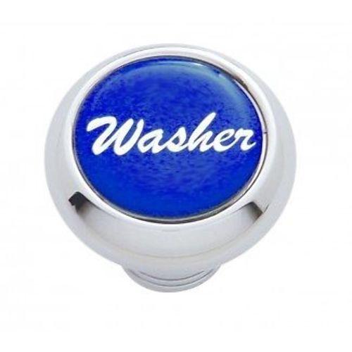 "Chrome Aluminum ""Washer"" Dash Knob With Blue Aluminum Sticker"