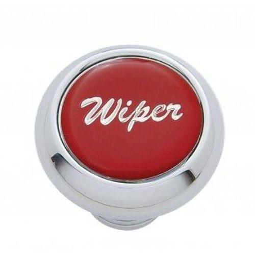 """Chrome Aluminum """"Wiper"""" Dash Knob With Red Aluminum Sticker"""