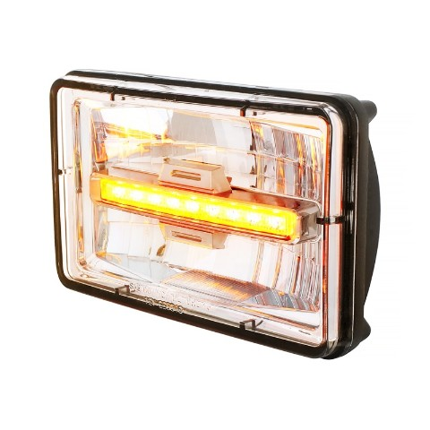 "High Power LED 4"" X 6"" Rectangular Low Beam Headlight w/ Amber Auxiliary Light"