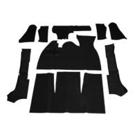 Carpet Kit w/ Footrest, 9-Piece, Black, Fits VW Super Beetle Convertible, 1971-1972, EMPI 3982
