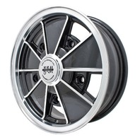 EMPI BRM Rim 5 X 15 wheel Gloss Black Early Bug Bus Type 1 2 3, 5-205,  9676