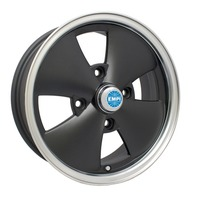 "Black EMPI 4-Spoke Wheels, 15"" X 5-1/2"", for VW Beetles and Dune Buggies"