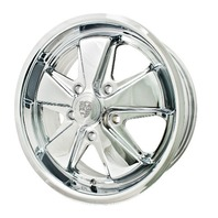 EMPI VW BUG BUS GHIA 911 ALLOY WHEELS 15X6, 5-130 ALL CHROME
