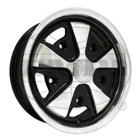 EMPI VW BUG BUS GHIA 911 ALLOY WHEEL 15X5-1/2, 5-205  BLACK WITH POLISHED, EACH