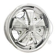 EMPI VW BUG BUS GHIA 911 ALLOY WHEEL 15X5-1/2, 5-205  ALL CHROME PLATED, EACH