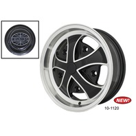 Rebel Wheel Gloss Black w/ Polished Lip & Ribs 15X5.5, 5X205 - EMPI 10-1120