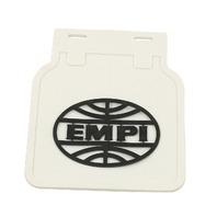 VW Bug Type 1, EMPI Vintage Style Mud Flaps, White w/ Black Logo,Pair 15-1091