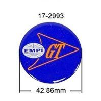 "EMPI WHEEL CENTER CAP BUTTON, LOGO STICKERS, SET OF 4 ""EMPI GT"" 42.86mm 17-2993"