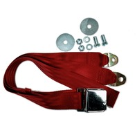 """EMPI VW BUG  AIR COOLED, 2 Point Aviation Style Lap Seat Belt, RED,  72"""" EA."""