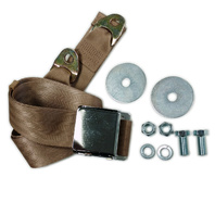 """EMPI VW BUG  AIR COOLED, 2 Point Aviation Style Lap Seat Belt, TAN,  72"""" EA."""