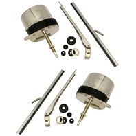 Universal 12V Stainless Steel Windshield Wiper Motor Kit, Pair, For Hot Rod, Off-Road