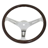 "VW Bug Ghia EMPI Dark Wood Steering Wheel, 380mm Diametr w/23mm Grip,3"" Dish"