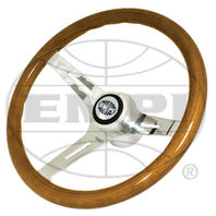 "VW Bug Ghia EMPI Classic Wood Steering Wheel ,380mm w/31mm Grip 3"" Dish With Hub"