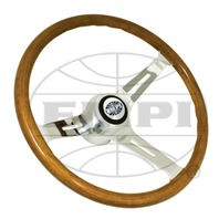 "VW Bug Ghia EMPI Classic Wood Steering Wheel ,380mm w/23mm Grip 3"" Dish With Hub"