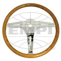 "VW Bug Ghia EMPI Classic Wood Steering Wheel , 380mm Diametr w/23mm Grip,3"" Dish"