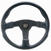 "VW Bug Ghia Steering Wheel 13"" 3"" Dish 3 Spk. Molded Grip Black Anodize 79-4032"