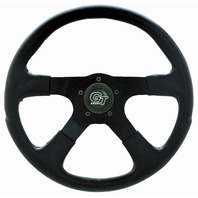 "VW Bug Ghia Steering Wheel 14"" 3-3/4 Dish Molded Grip Black Anodize 79-4034"
