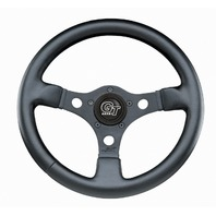 "VW Bug Ghia Formula GT Steering Wheel Black 3-Spoke 13"" 3"" Dish 79-4036"