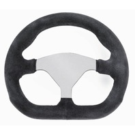 "Steering Wheel, D-Shape, Black Suede, 3-Spoke, 10"", Fits VW Sand Rail Rock Crawler, EMPI 79-4041"