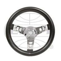 EMPI Steering Wheel, CHROME 3-SPOKE,12-1/2 DIA, 3-1/2 DISH VW BUG BAJA BUGGY