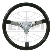 "EMPI Steering Wheel, CHROME 3-SPOKE,SOLID, 14-3/4 DIA, 4"" DISH VW BUG BAJA BUGGY"