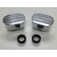 Hot Rod Oval Finned Polished Valve Cover Breather Kit W/ Grommet SBC BBC V8