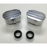 Hot Rod Polished Oval Finned Aluminum PCV & Valve Cover Breather Kit W/ Grommet