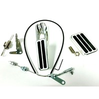 "Billet Aluminum Gas & Brake Pedal / 36"" Throttle Cable / Firewall Mount Kit"