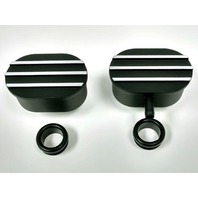 Hot Rod Black Oval Silver Finned Aluminum PCV & Valve Cover Breather Kit