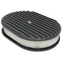 "12"" Full Finned Black Aluminum Oval Air Cleaner w/ Filter Chevy Ford V8"