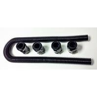 """48"""" Black Stainless Flexible Radiator Hose Kit w/ Black End Caps"""