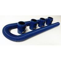 "48"" Blue Stainless Flexible Radiator Hose Kit w/ Blue End Caps"