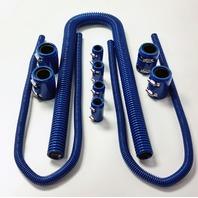 "48"" Blue Stainless Flexible Radiator & Heater Hose Kit w/ Blue End Caps"