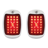 1937-38 Chevy Car LED Sequential Tail Lights Stainless Assembly w/ Flasher, Pair