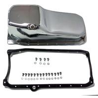 SB Chevy SBC Chrome Oil Pan W/ Bolts & Gaskets 4qt 305-350 86-Up Hot Rat Rod