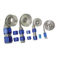 Stainless Braided Engine/Vacuum/Fuel/Heater/Oil Line Hose Sleeve Dress Up Blue Kit