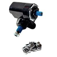 Reversed Corvair Black Steering Box 20:1 Ratio w/ Chrome U-Joint - T-Bucket Hot Rat Rod