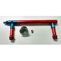 Aluminum Holley 4150 Double Pumper Fuel Line Log Red Blue Anodize w/ White Gauge