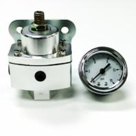 "5-12 PSI Aluminum Adjustable Fuel Regulator w/ White Gauge - 3/8"" NPT Ports"