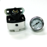 "5-12 PSI Aluminum Adjustable Fuel Regulator Black w/ White Gauge 3/8"" NPT Ports"
