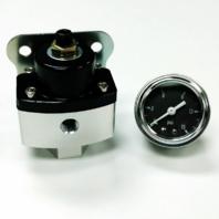 "5-12 PSI Black Aluminum Adjustable Fuel Regulator w/ Black Gauge 3/8"" NPT Ports"