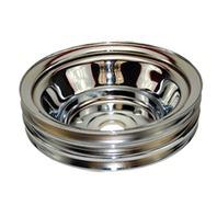 "SBC Chevy 283-350 Satin Aluminum SWP Triple Groove Crankshaft Pulley - 6.6"" dia"