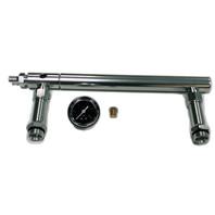 Billet Aluminum Holley 4150 Double Pumper Fuel Line Log Anodized w/ Black Gauge