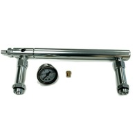 Aluminum Holley 4150 Double Pumper Fuel Line Log Clear Anodized & White Oil Gauge